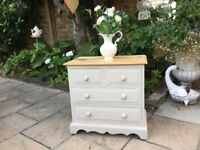 Country Chic Small Pine Chest Of Drawers - Bedside Table