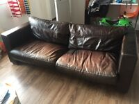 Leather large 2 seater sofa in very good condition