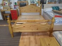 Solid Pine, King Size (5ft), Toscana Panel Bed Frame, antique pine finish, excellent condition bed