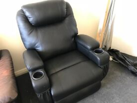 Leather arm chair, reclining, 07894016177