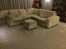 Corner Sofa with Foot Stool with integral storage