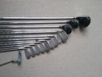 Golf clubs including Slazenger Panther Ti Forged Titanium 420 driver