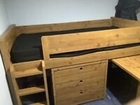 Next Furniture Kids Cabin Bunk Bed with Desk,3 drawers and Cupboard