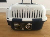 Blue & white pet carrier