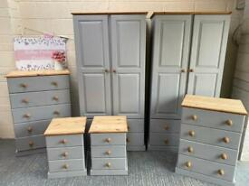 Solid pine bedroom furniture. RRP £1300. Chest of drawers, bedside tables and wardrobes