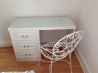 White dressing table with glass top & chair