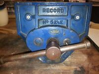"""GENUINE VINTAGE RECORD NO 52 1/2 E QUICK RELEASE WOOD WORKING VICE 9"""" JAWS"""