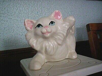 "CUTE Vintage 50's Blue Eyed White Fluffy Kitten Paw Raised 4 1/2"" Tall x 6"" Long"