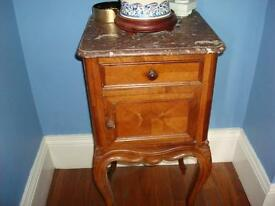 Antique french marbled top cabinet