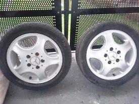 "2 x mercedes a class 16"" alloy wheels"
