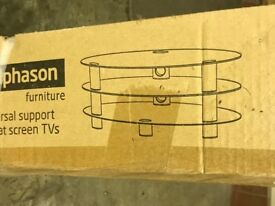 Brand new and boxed, black glass oval shaped TV stand with 3 shelves