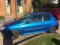 Peugeot 206 1.1 3-door hatchback, shiny blue, great condition, used as a first car MOT & tax July 17