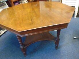 vintage dark wood octagon table.