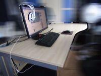 Wave Desks for Home/Office - Oak Top, Cantilever Base