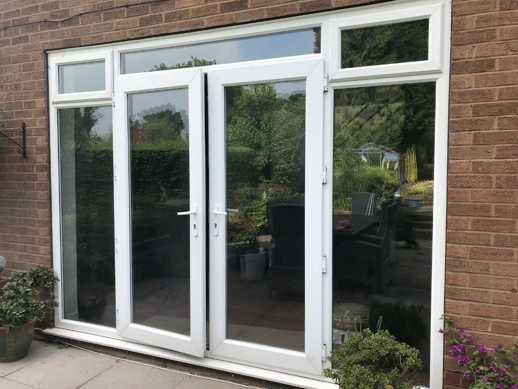 Large Upvc Double Glazed French Patio Doors Topside Lights 307cm W