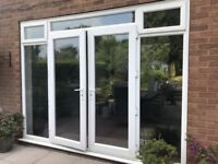 LARGE UPVC DOUBLE GLAZED FRENCH PATIO DOORS TOP+SIDE LIGHTS 307cm W 235 cm H