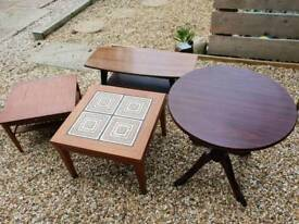 Job lot of coffee tables & pedestal table