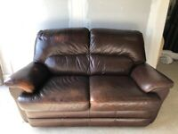 CAN DELIVER- BROWN LEATHER 2 TONE SOFA IN VERY GOOD CONDITION