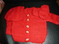 Hand knitted baby girl's red jacket, hat and mitts, brand new