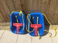 Two baby swing seats