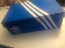 Reflective Adidas duck egg blue Superstars/unisex/size 6 UK