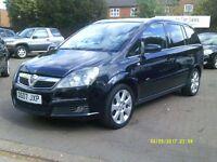 Vauxhall Zafira 1.8 i 16v Design 5dr 2007 (07 REG), BLACK, 7 SEATER, ONLY 82,000 MILES, BARGAIN