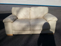 2 Cream/White Leather 2 Seater Sofas Couch - DELIVERY AVAILABLE