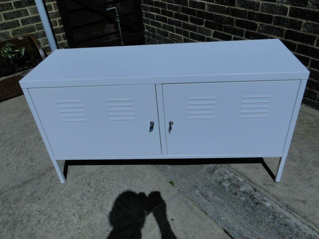 Ikea PS metal cabinet in white-multi use-TV stand storage - bench ...