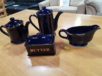 Cobalt Blue and Gold Teapot, Coffee pot, Gravy Boat and Butter pot.