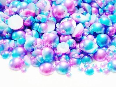 NEW Rainbow Flatback Faux Half Round Pearls 3/4/5/6/8mm 150pcs Pink Purple Blue