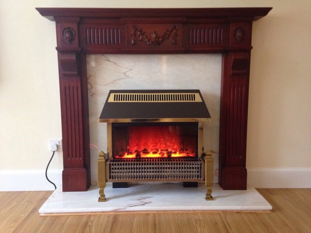 3kw Electric fire, marble surround and timber mantle for sale
