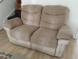 Beige reclining sofa set from DFS with big sofa, small sofa and armchair
