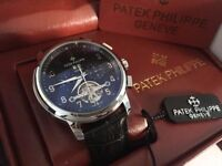 New Patek Philippe Tourbillon Silver Case Automatic Watch, See Through back