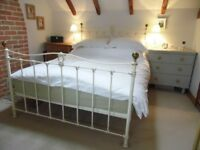 Lovely ivory and gold painted Iron Kingsize bedstead six years old as new, unmarked