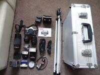 Vintage Pentax ME Super SLR film camera and loads of extras