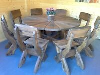 Ex-Display Offer * Hand Made * Rustic Table & 8 Chairs - 1.5 m x 1.5 m - RRP £1275