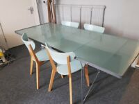Ikea glass top dining table and chairs