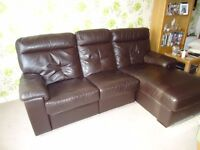 sofa , 3 seat , brown leather , DFS , built-in footstool , good condition , FREE