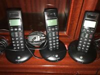 BT phone system. 3 wireless phones with charging ports