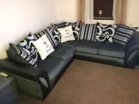 == NEXT DAY DELIVERY == IMPORTED HIGH QUALITY SHANNON LEATHER CHENILLE CORNER OR 3+2 SOFAS