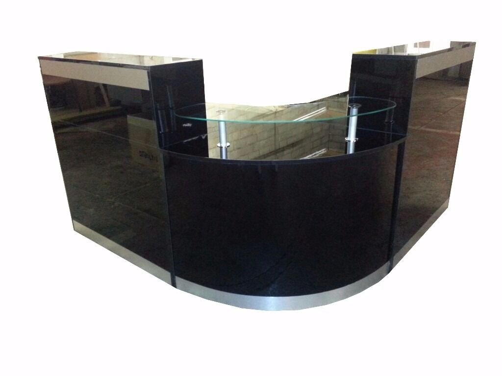 Reception Desk In Black High Gloss 2000mm Ref 0401
