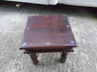 2 X MATCHING SOLID HARDWOOD TABLES