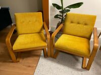 TWO UPHOLSTERED ARMCHAIRS - MUSTARD YELLOW - RETRO/VINTAGE