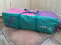 Travel cot travel lite by Graco in blue/pink with bedding