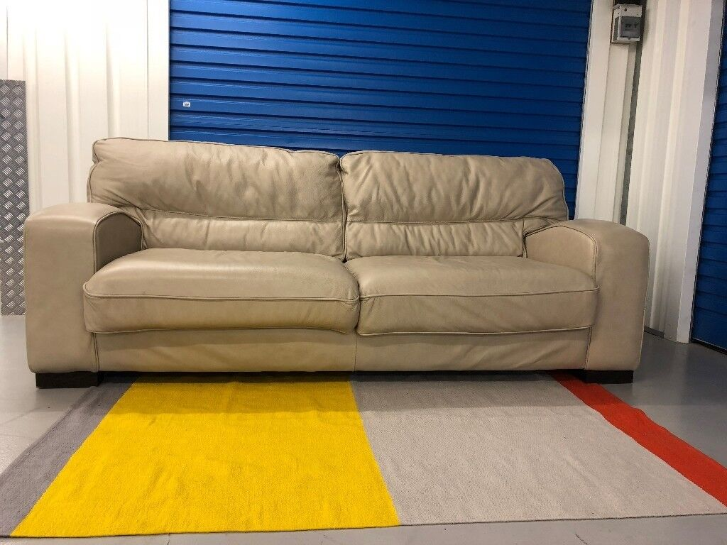 Ex Display Dfs New Force 3 Seater Sofa In Stone Leather