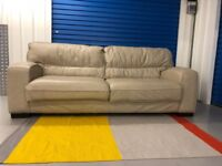 REDUCED ! EX-Display - DFS New force 3 seater sofa in stone leather - RRPrice 799£