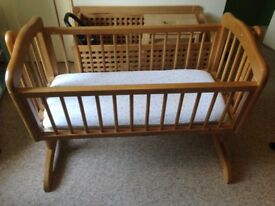 Swinging Wooden Baby Crib - lovely wooden crib with nearly new mattress if needed