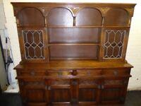 Old Charm Solid Oak Sovereign Display Dresser Cabinet