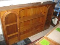 MODERN ORNATE ARCHED SOLID PINE WELSH DRESSER TOP. GLAZED END CABINET. VIEWING / DELIVERY AVAILABLE
