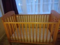 Mamas and Papas solid wood baby cot with mattress